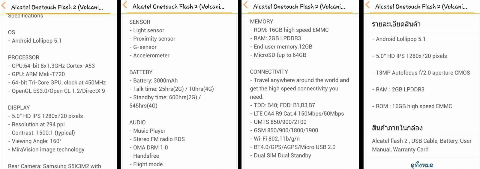 Leak Alert! Alcatel OneTouch Flash 2 leaks! Specs Price
