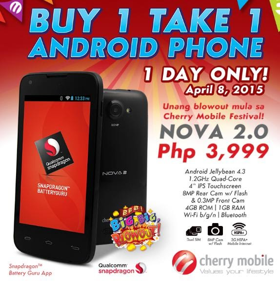 Cherry Mobile Nova 2.0 Buy 1 Take 1 Promo This April 8, 2015