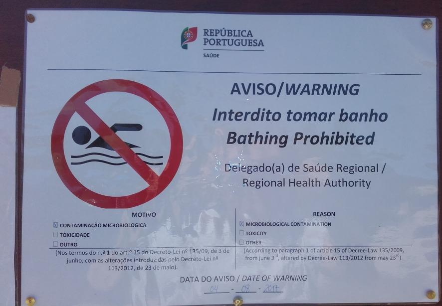 proibição de tomar banho na praia fluvial de burgães