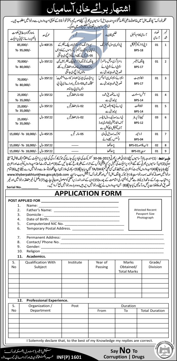 Planning Cell Food Department Khyber Pakhtunkhwa Jobs