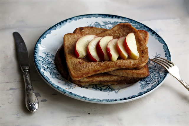 French toast with maple syrup and nectarines (vegan and non vegan)