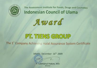halal-aman-syariah-haram-alami-mui-islam-muslim-tiens-tianshi-sertifikat-penghargaan