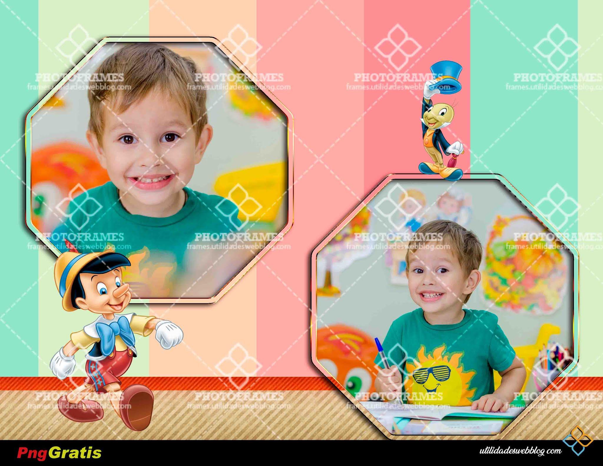 Bello marco para colocar 2 fotos inspirado en Pinocho