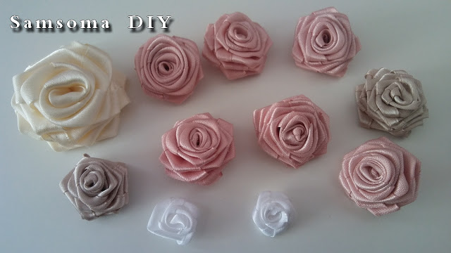عمل ورود ساتان . طريقة عمل ورد من شريط الساتان   .  DIY ribbon rose tutorial . DIY satin ribbon rose .  Diy ribbon rose . طريقة عمل ورد من الساتان  .