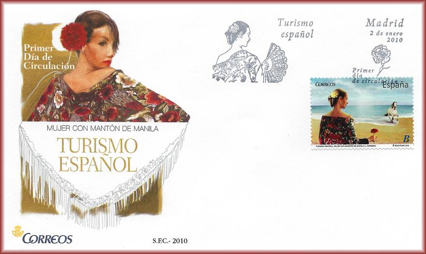 Sobre de la serie Turismo Español 2010, con sello de JCarrero, Mujer con mantón de Manila