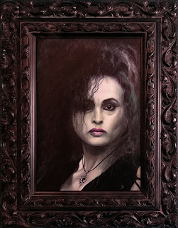 Completed oil painting of Helena Bonham Carter as Bellatrix Lestrange from Harry Potter - Robin Springett