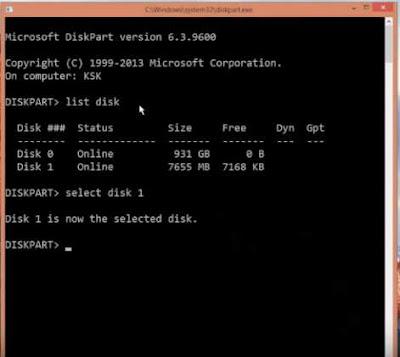 Cara Perbaiki Flashdisk Memory dan Pen Drive Rusak Corrupted - select disk