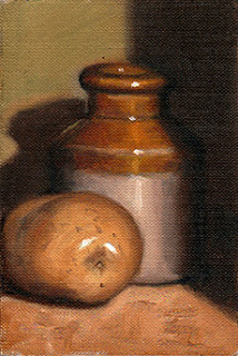 Oil painting of an earthenware jar beside a white potato.