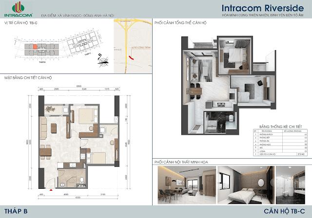 Thiết kế căn hộ 57m2 dự án Intracom Riverside Nhật Tân Đông Anh
