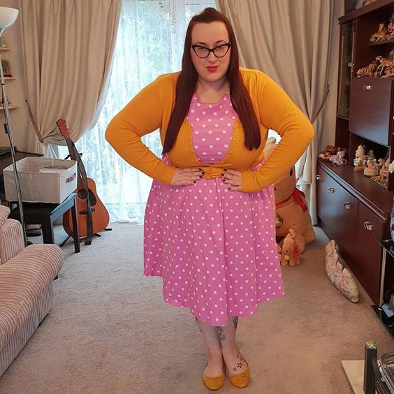 Lindy Bop Pink Polka Dot Audrey dress