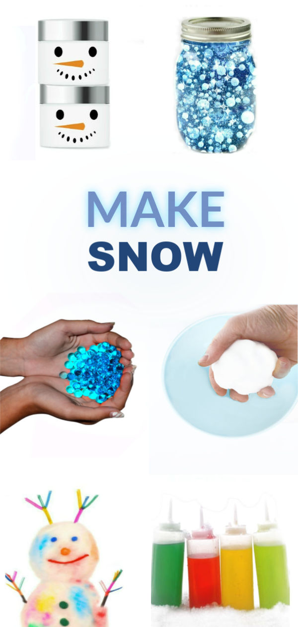 MAKE SNOW! 20+ ways to make your own snow when there isn't any #makesnow #snowplay #snowplayrecipes #makesnowforkids #makesnowwithbakingsoda #snowrecipesforkids #snowrecipes #snowideas #snowideasforkids