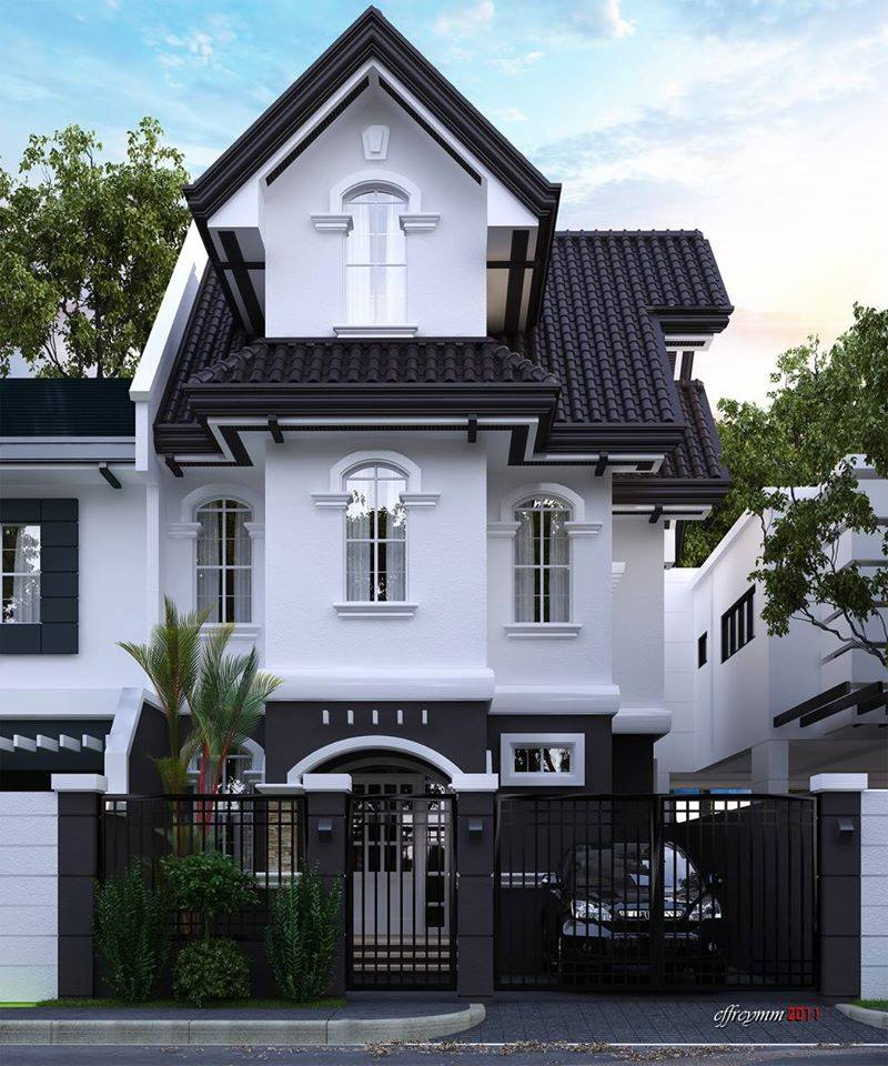 Beautiful Elegant Two Story House With Black And White