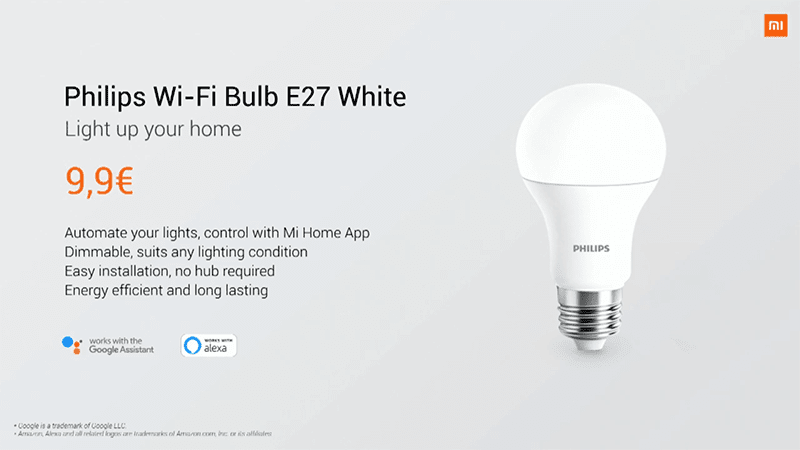 Philips WiFi Bulb E27 White can be adjusted via the Mi Home App