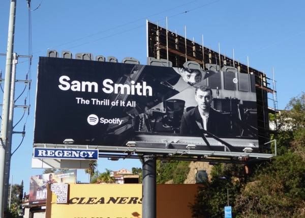 Sam Smith Thrill of it All Spotify billboard