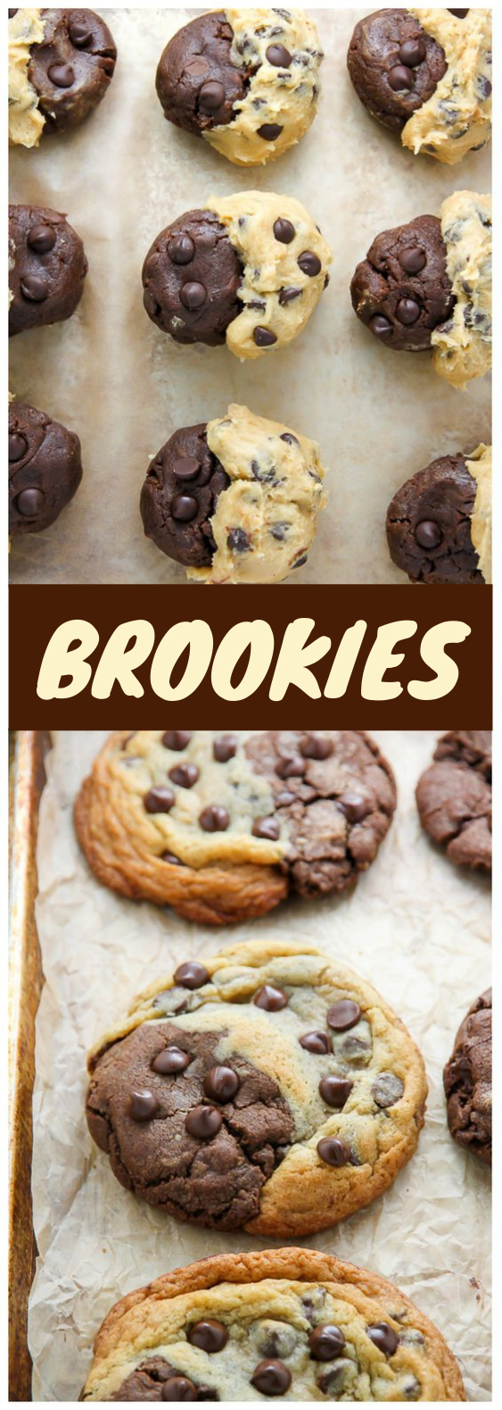 Chocolate Chip Brownie Swirl Cookies (aka Brookies) #Cookies #Brookies