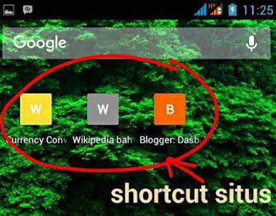Cara membuat Pintasan alamat Situs di layar Utama Android