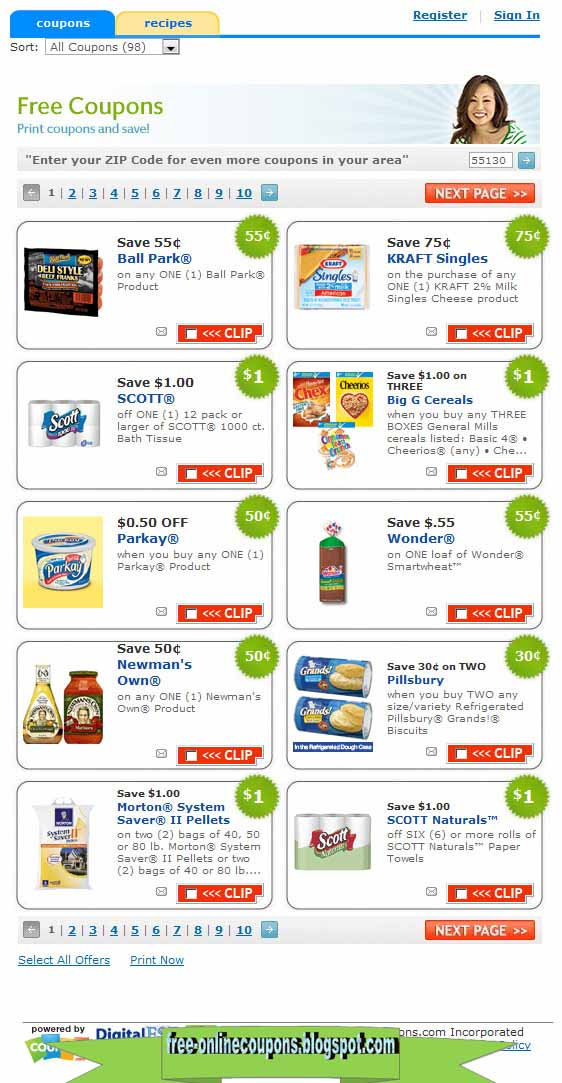 Internet grocery coupons