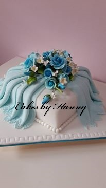 Cakes By Hanny Blue Heart Shaped Cake Wedding Cake