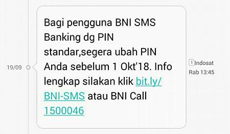 Cara Ganti PIN BNI SMS Banking