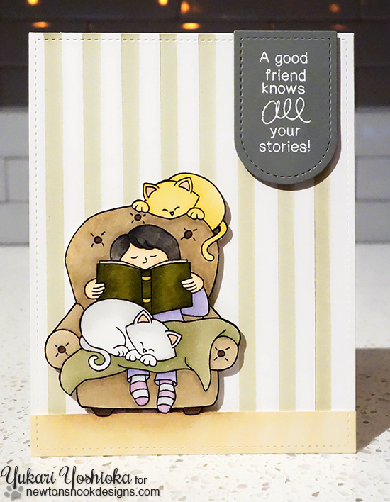Cozy Day Reading with Cats Card by Yukari Yoshioka | A Cozy Day In Stamp set by Newton's Nook Designs #newtonsnook