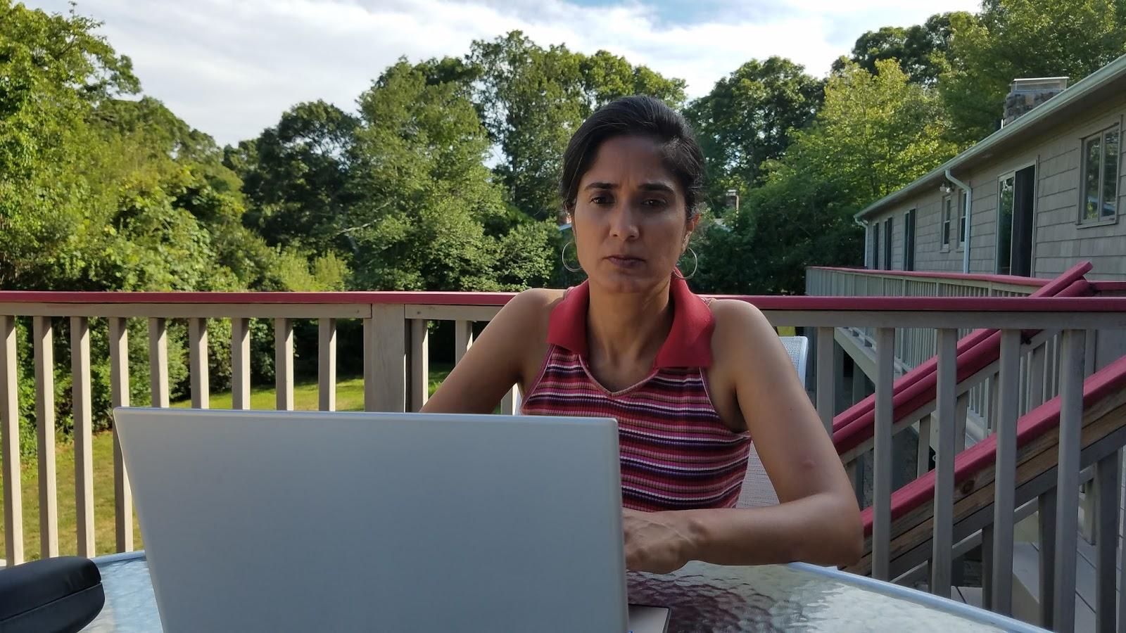 Padma Writing On The Deck
