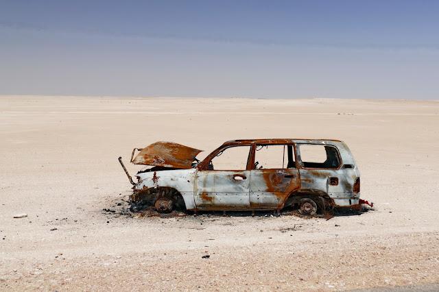 Auto, ausgebrannt, Wüste, Oman, tipp, fotografieren, fahren