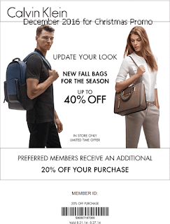 Calvin Klein coupons for december 2016