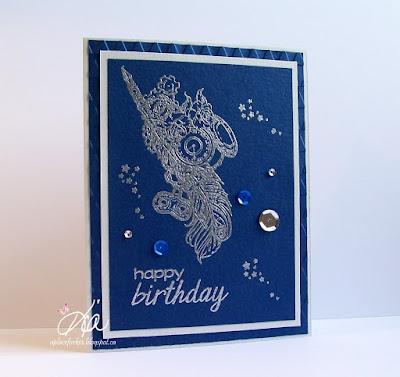 Art Neko stamps, Kia Gibson-Clapper, aplaceforkia.blogspot.ca, heat embossing, handmade cards, steampunk feather