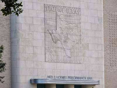 Ned S Holmes Performance Hall - Architectural Detail: Image of State of Texas on stone facade