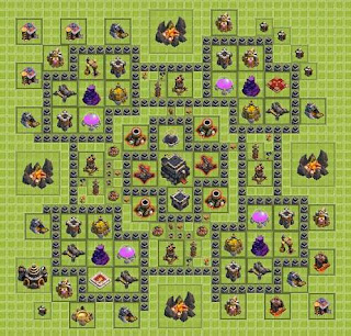 Base Clash of Clans Terbaik TH 9 Hybrid