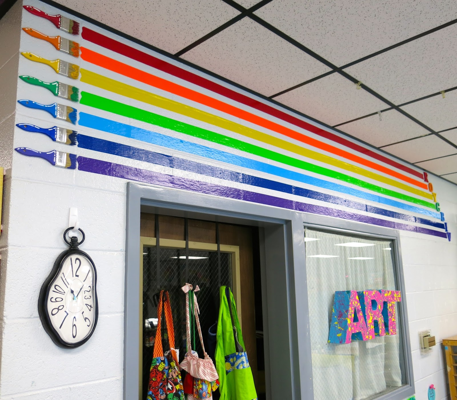 Classroom Art Decor ~ Cassie stephens in the art room roy g biv decor