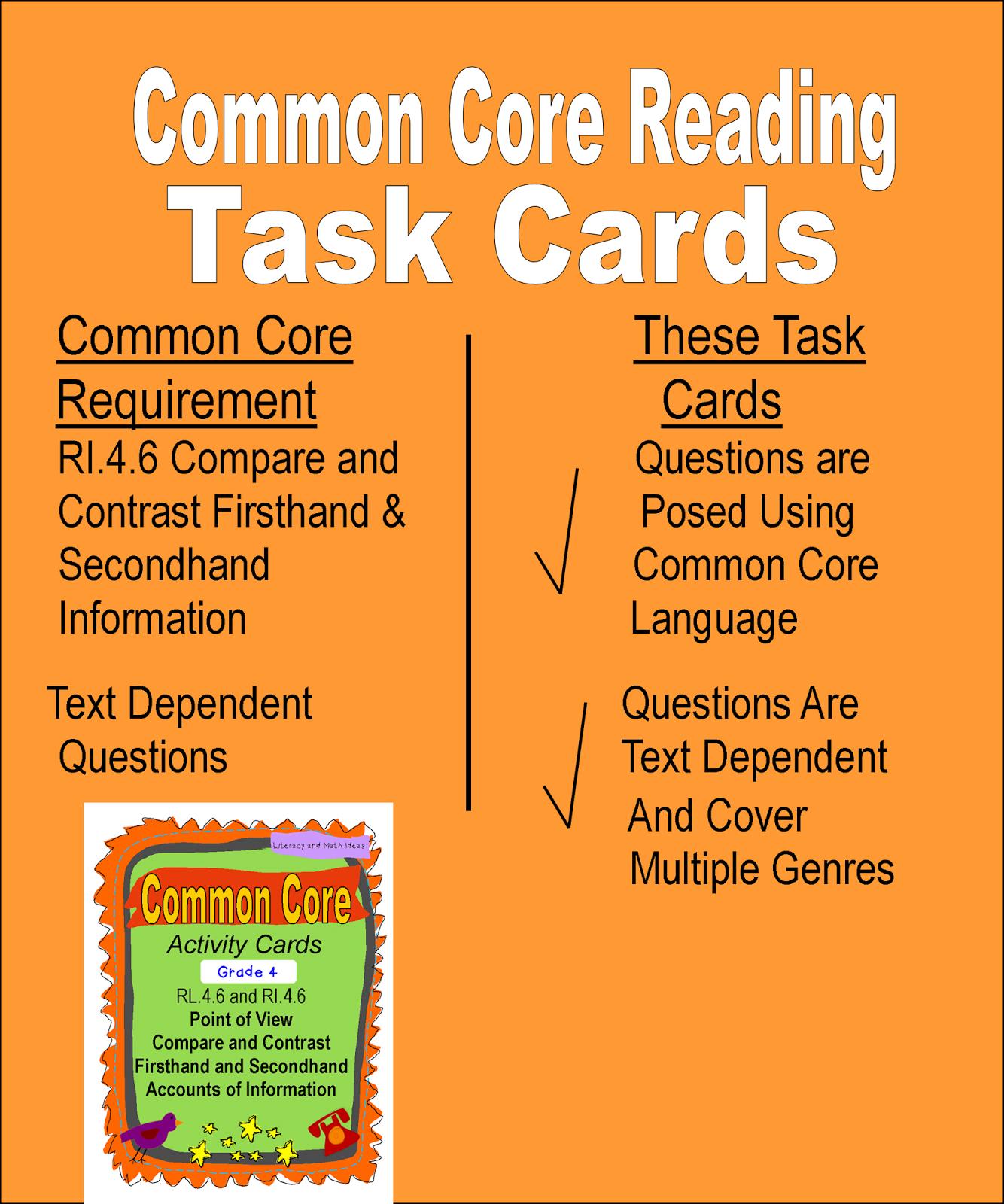 Literacy Amp Math Ideas Fourth Grade Common Core Reading