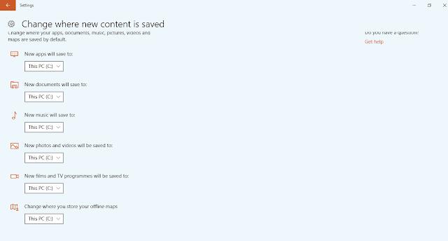 choose seperate save folder in window 10