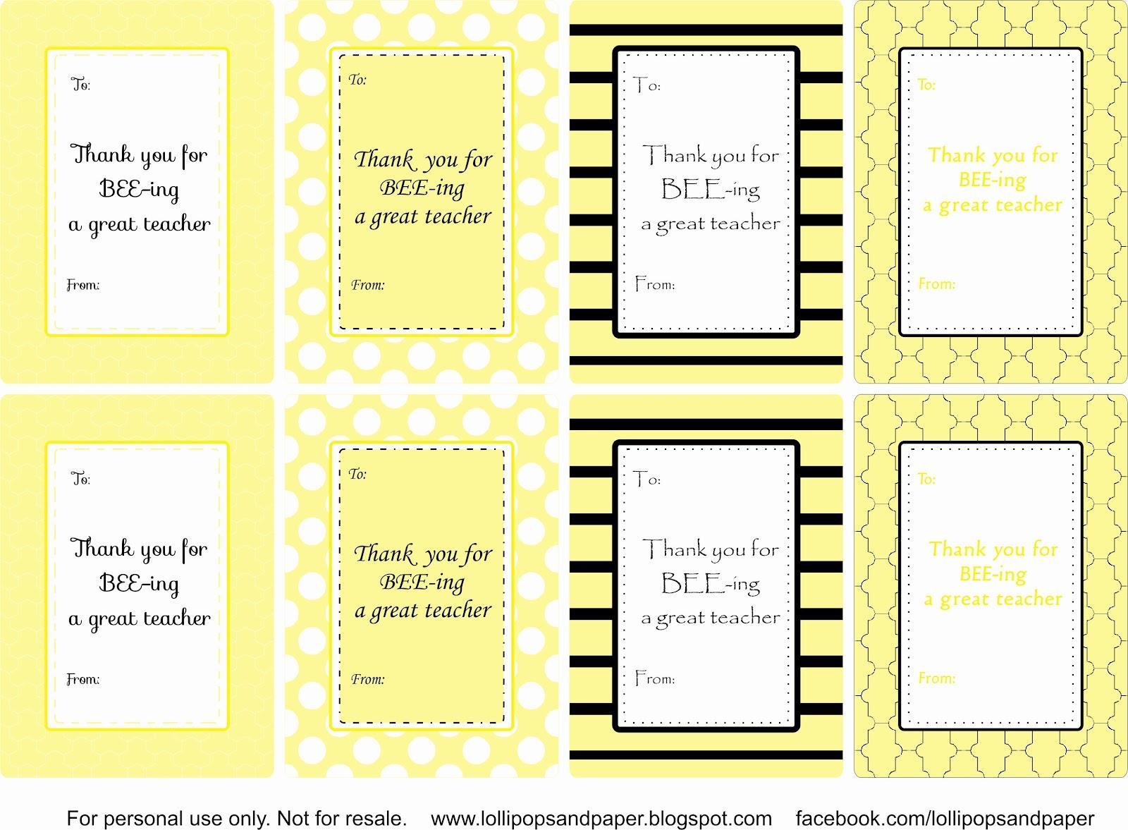Lollipops Amp Paper Bee Themed Teacher T Tags