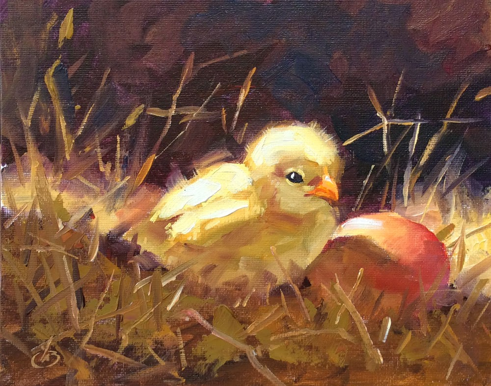 BABY CHICK And EGG ORIGINAL OIL On 10x8 CANVAS PANEL By TOM BROWN