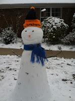 happy snowman scarf hat