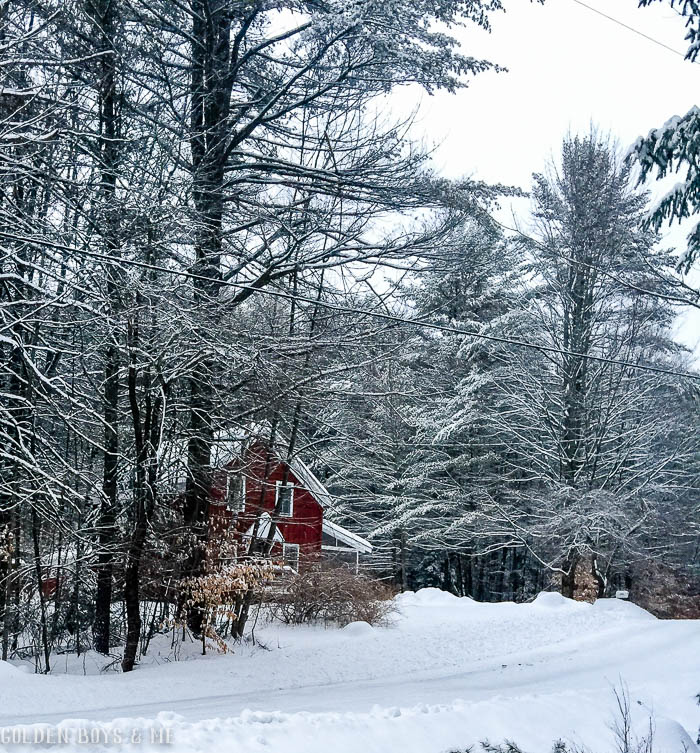 Red house in snow in Adirondacks