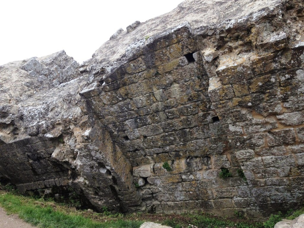 Corfe Castle wall falling down