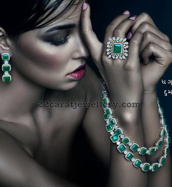 Two Layer Emerald Diamond Set and Ring