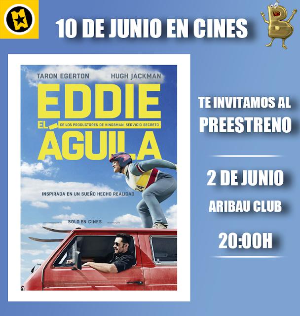 cartel del sorteo del 2 de junio para el preestreno de Eddie el Águila