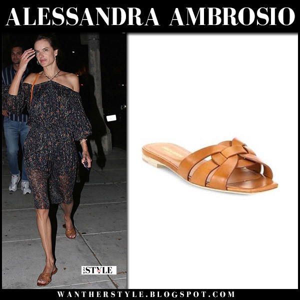 Alessandra Ambrosio in black printed off shoulder dress and brown leather slides saint laurent model style august 8