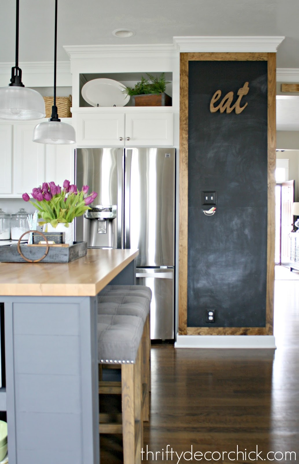 DIY chalkboard wall in kitchen
