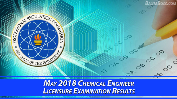 Chemical Engineer May 2018 Board Exam