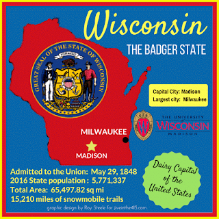 A map of Wisconsin and facts about the state including population, land mass, and the University of Wisconsin logo.