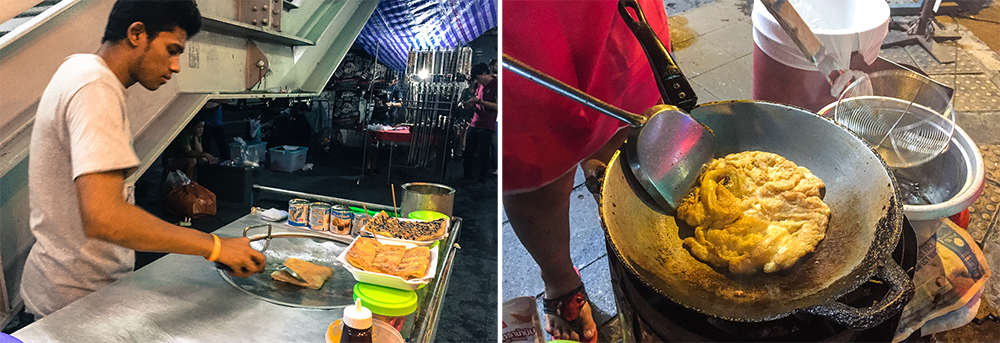 Street food sold along the roadsides of bangkok