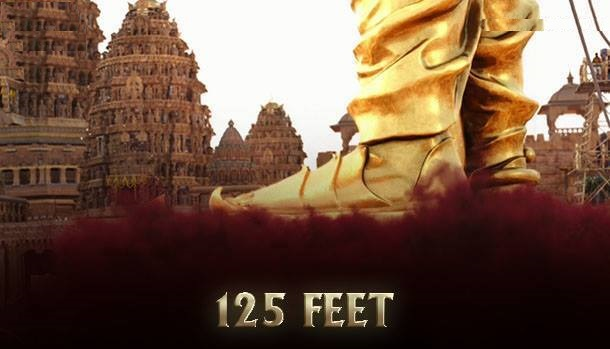 The height of Bhallala Deva's statue which needed 4 cranes to be erected 125 feet