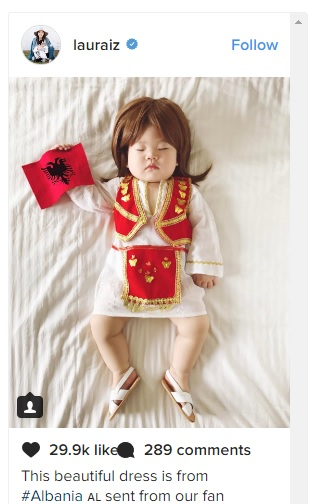Japanese photographer wears her little girl in Albanian national dress
