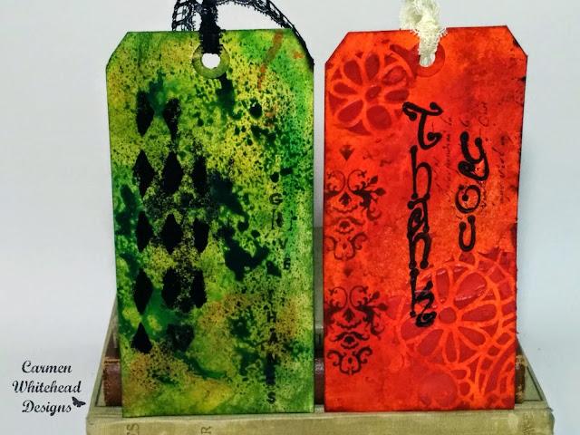 Fall tags with ArtistCellar stencils by Carmen Whitehead Designs