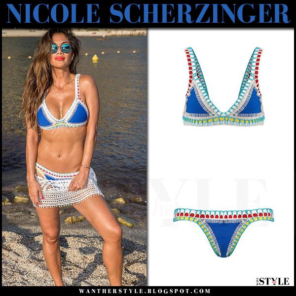 Nicole Scherzinger blue crochet bikini kiini tuesday on the beach what she wore beach style