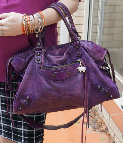 2008 Bal sapphire purple city bag RH classic hardware